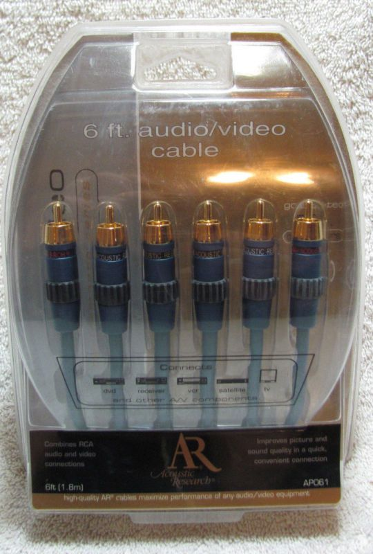 NEW Acoustic Research AP061 Composite Video Stereo Audio Cable 6' Gold Plated - http://electronics.goshoppins.com/cables-connectors/new-acoustic-research-ap061-composite-video-stereo-audio-cable-6-gold-plated/