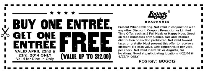 Free Entree  Expires 4/23/2014 http://www.pinterest.com/TakeCouponss/logans-roadhouse-coupons/ Logans Roadhouse Coupons
