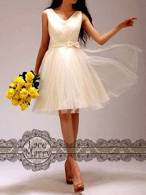 Knee Length Airy Aline Style Ivory Tulle Bridesmaid by LaceMarry