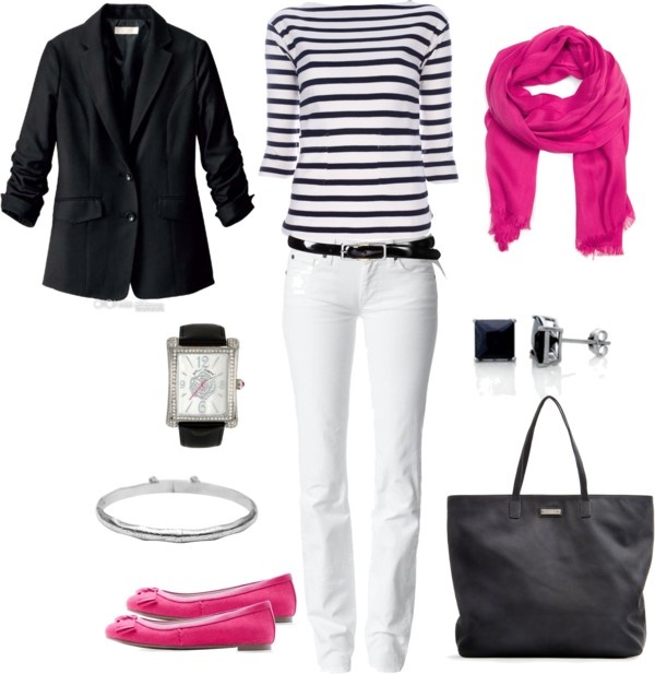 I love the pop of pink in this. This will also work if you switch the jacket to white, and the pants to black.