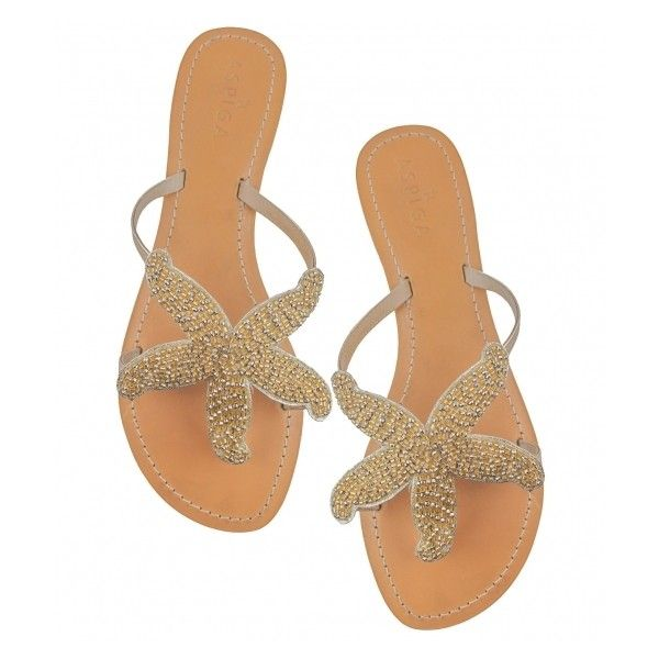 Aspiga Starfish Sandal Gold (€98) via Polyvore featuring shoes, sandals, flat shoes, gold sandals, starfish sandals, beaded sandals e beaded shoes