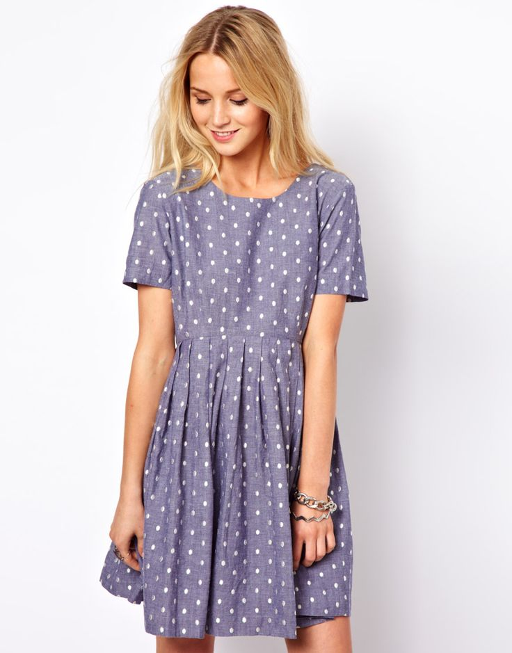 ASOS | ASOS Smock Dress With Embroidered Spot In Chambray at ASOS