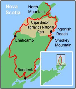 Cabot Trail, Cape Breton Island, Nova Scotia - An incredibly beautiful ride. Map courtesy of Freewheeling Adventures.