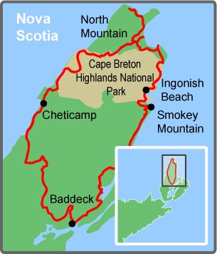 Cabot Trail, Cape Breton Island, Nova Scotia - An incredibly beautiful ride. Map courtesy of Freewheeling Adventures.