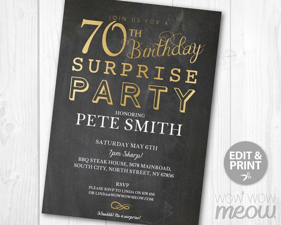 surprise 70th birthday invitations elegant gold party invite elegant chalk seventy mens womens