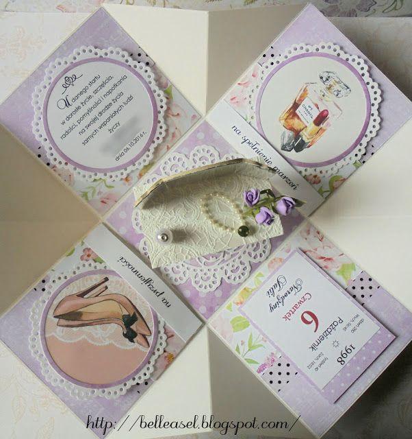kartka na urodziny, exploding box, osiemanstka, birthday card, dressing table