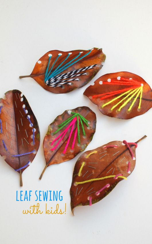 Leaves + yarn = a fun fall craft to do with your kids.