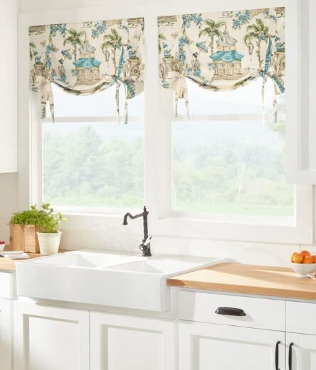 We Love This Graceful Variation On A Classic Monochromatic Toile, Offering  Colorful Scenes From A. Kitchen ValancesCountry CurtainsAsian ...