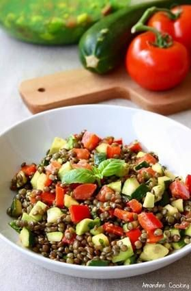 Salade de lentilles aux légumes, pour 2 pers: 120 g de lentilles vertes, 1 courgette, 1 poivron rouge, 1 tomate, 1 avocat, le jus d'un demi citron, quelques feuilles de basilic (j'essaierai la coriandre), huile d'olive