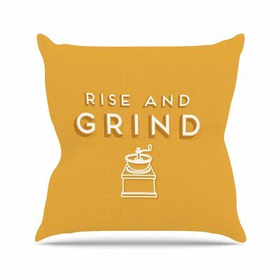 """East Urban Home Busy Bree Rise and Grind Gold Illustration Outdoor Throw Pillow Size: 16"""" H x 16"""" W x 5"""" D"""