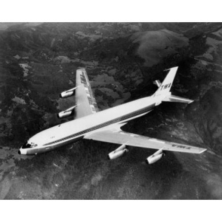 High angle view of an airplane in flight Boeing 707 Canvas Art - (18 x 24)