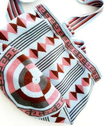 pink blue brown wayuu mochila bag