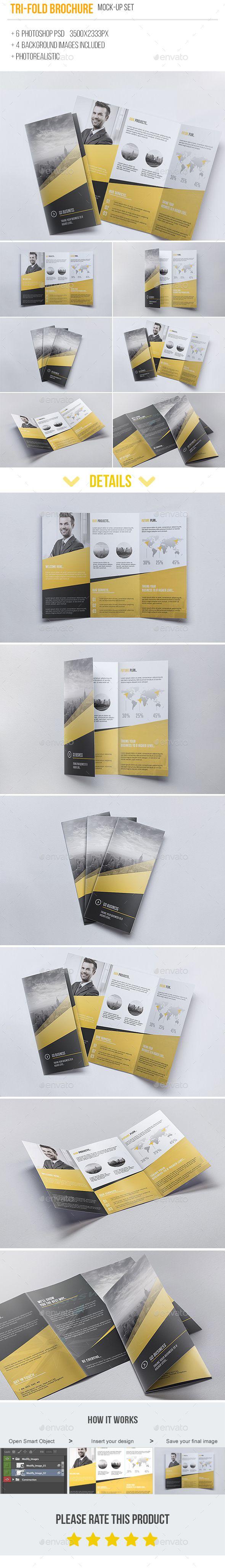 Tri-fold Brochure Mock-Up 6 PSD #design Download: http://graphicriver.net/item/trifold-brochure-mockup-6-psd/13591734?ref=ksioks