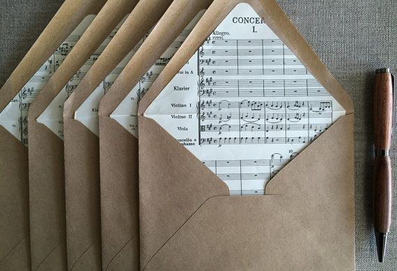 Sheet Music Envelope Liners for DIY Wedding or by paperetteshoppe