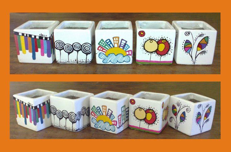 imágenes de macetas pequeñas pintadas - Buscar con Google
