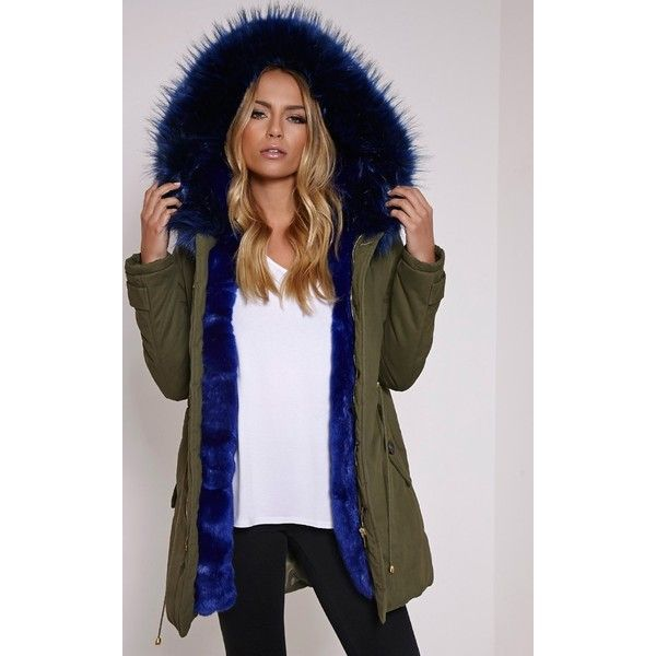 Jen Blue Fur Lined Premium Parka Coat (€185) ❤ liked on Polyvore featuring outerwear, coats, blue, fur lining coat, fur lined parka, blue parka, parka coat and blue coat