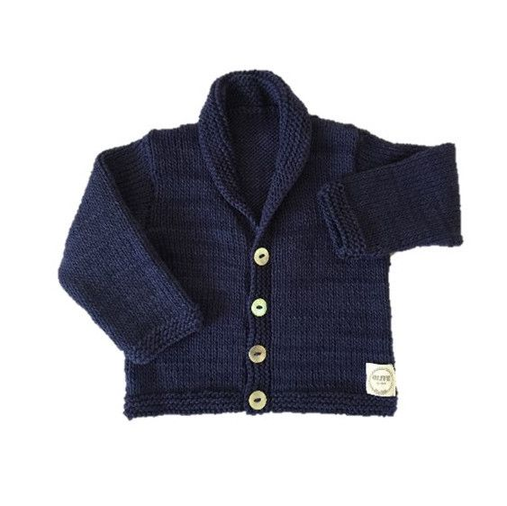 ETHAN CARDIGAN. Hand knitted cardigan with shawl collar. Made using 100% natural cotton. Sizes: 0-3m, 3-6m, 6-12m #olivebyclare