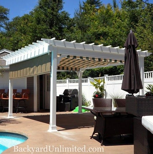12 39 x14 39 vinyl traditional pergola with ezshade canopy and curtain. Black Bedroom Furniture Sets. Home Design Ideas