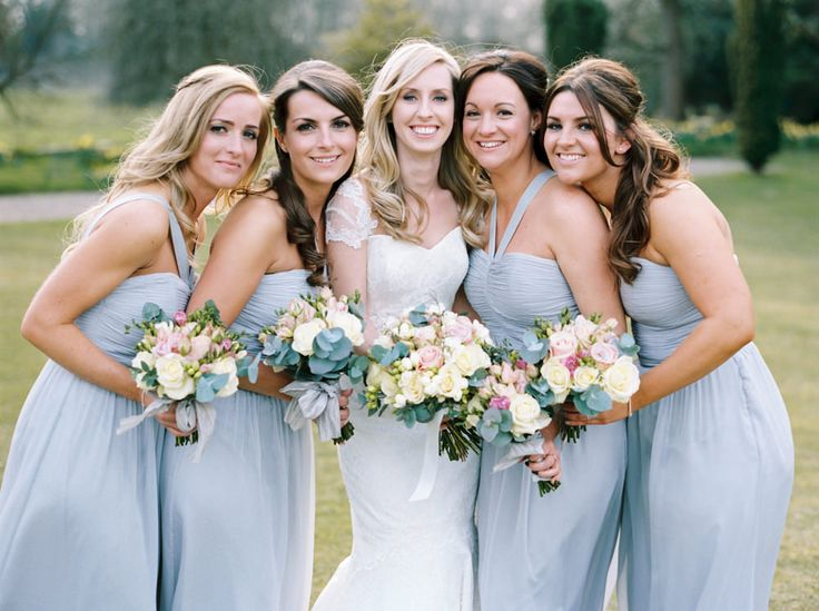Ted Baker Grey / Blue pastel halter neck Bridesmaid Gowns - Image by Christian and Erica Film Photography - Dominique Sassi Holford Gown and Jimmy Choo Shoes for a classic wedding at Iscoyd Park with Grey Ted Baker Bridesmaid Dresses, Groomsmen in Navy Reiss Suits and pastel florals.