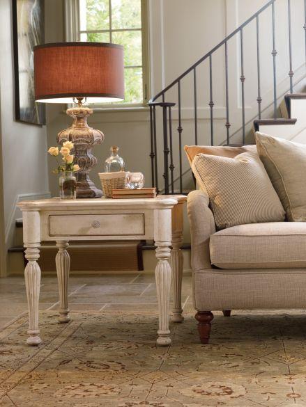 hooker furniture primrose hill living room one drawer lamp table in trellis white