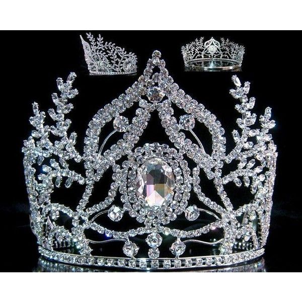 Beauty Pageant Rhinestone Queen Ceremonial Silver Crown Tiara ($200) ❤ liked on Polyvore featuring accessories, hair accessories, rhinestone crown, tiara crown, crown hair accessories, crown tiara and antique tiara