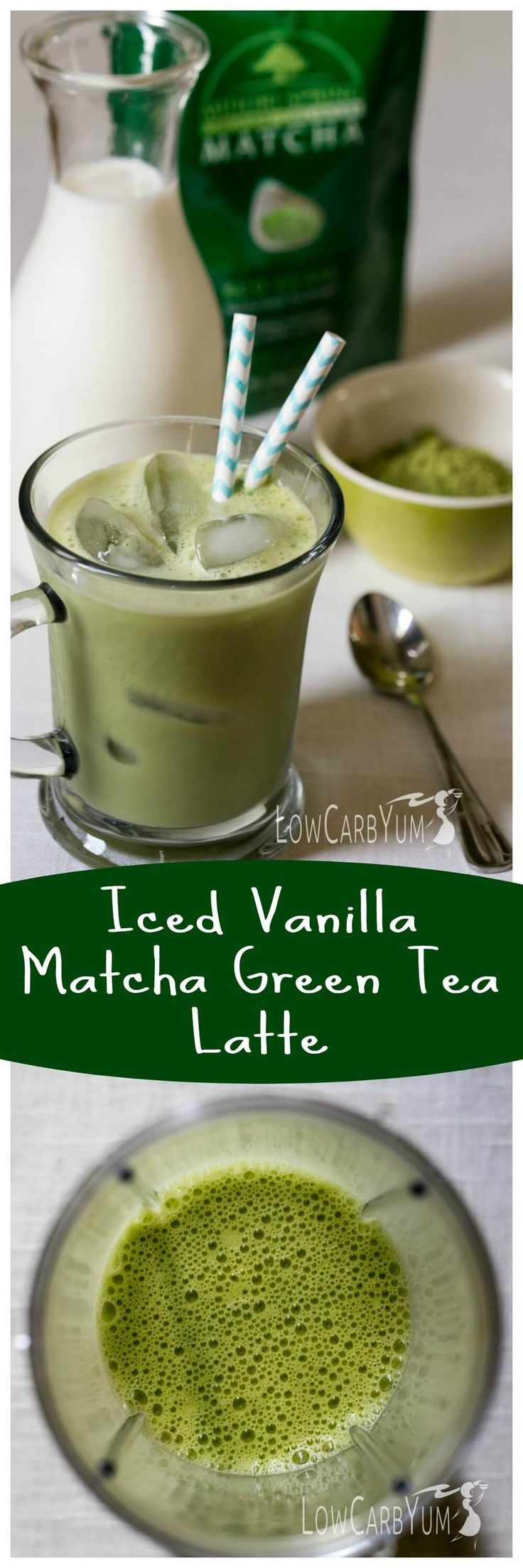 Need a healthier alternative to iced coffee? Try this low carb iced vanilla matcha green tea latte. It's low in calories with less than 1 gram of carbs! LowCarbYum.com/: