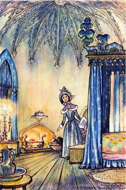 Book Illustration by C. Walter Hodges - Maria Merryweather's room -  from The Little White Horse.