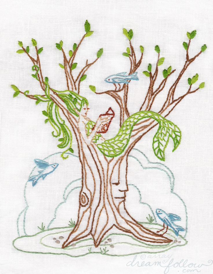 Mermaid tree embroidery pattern pdf download hand