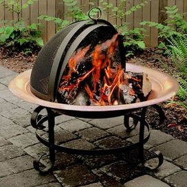 Copper fire pit with spark guard. Stand finished in powder ...