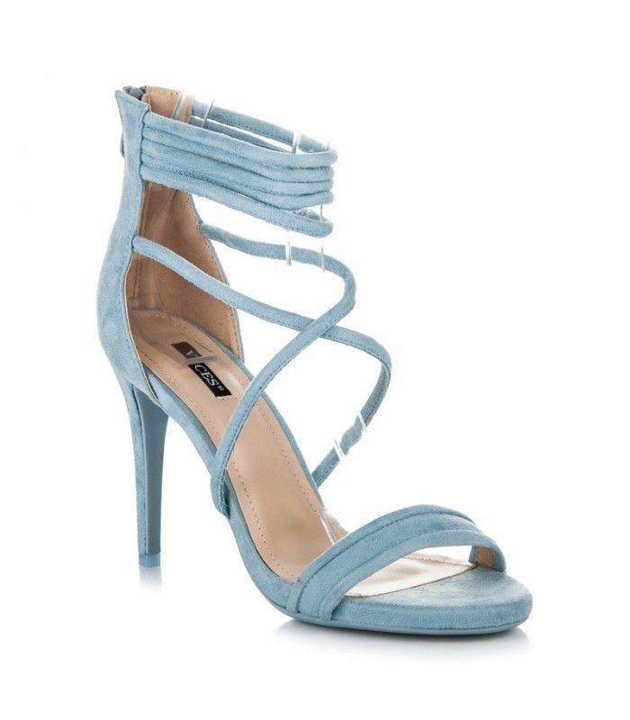 Svetlo modré sandále na podpätku 5070-11BL