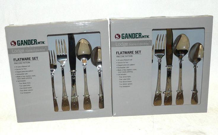 Gander Mountain Acorn Rustic Lodge Stainless Steel Flatware NEW 2 Sets 40 Pieces #GanderMountain