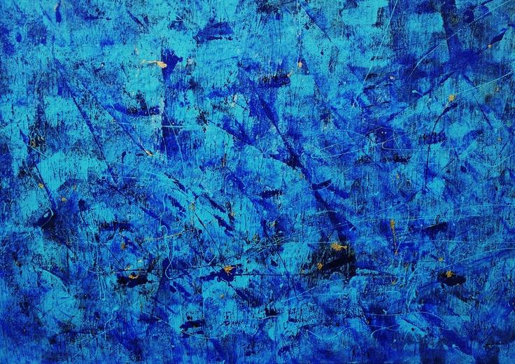 """""""Choregraphie Ombre blù """" smalti su tavola 90x80 cornice invasa 2013"""