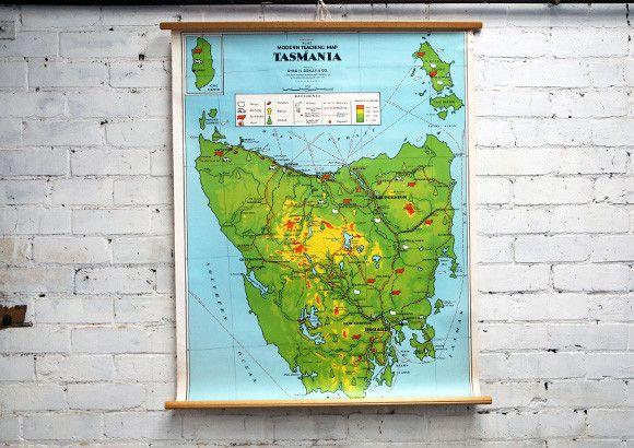 Vintage School Map of Tasmania