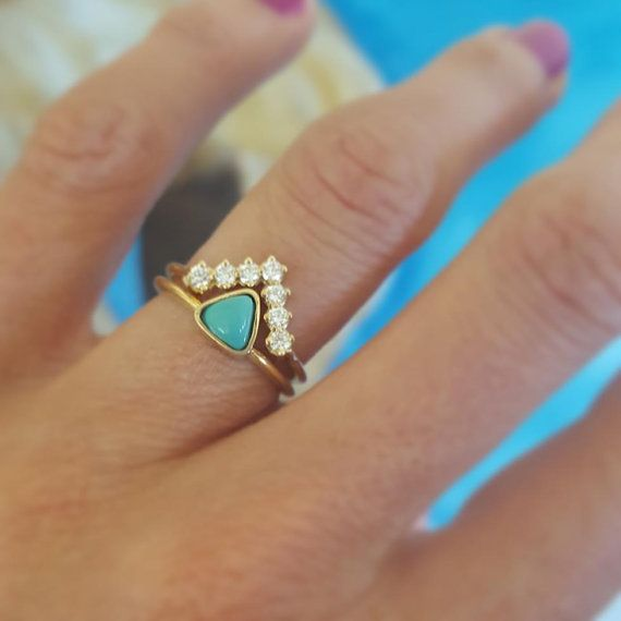 Trillion cut Turquoise ring paired with V shaped diamond band. So Special!  This is a listing for 18k gold genuine turquoise ring. This item is