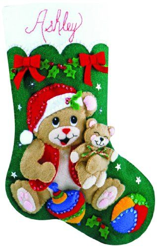 Playful Bears Stocking Felt Applique Kit >>> You can get more details by clicking on the image.