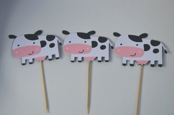 12 Cow Cupcake Topper Farm party Cow Baby Shower Cow by FreshGifts