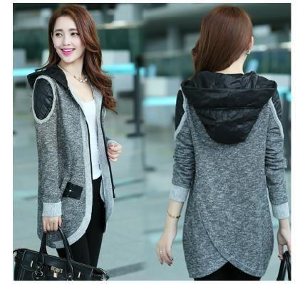 Free shipping Plus size clothing 2014 fashion medium-long mm cardigan casual sweater coat wadded jacket S-4XL