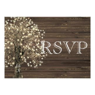 Rustic Country Lighted Tree on Wood Wedding RSVP Card