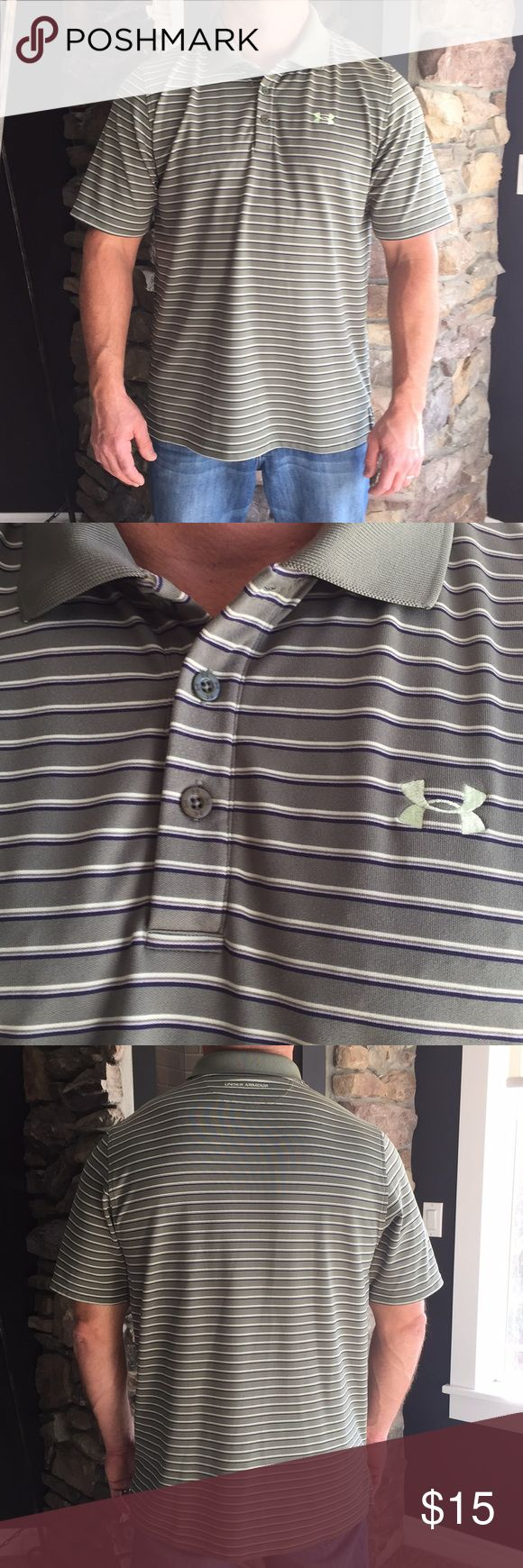Men's Under Armour Golf Polo Shirt Men's Under Armour Golf Polo Striped Shirt. Size XL. Color Olive Green Stripes.  Gently Worn, Great Condition, No Flaws. ⚡️Fast Shipping 🚫No Trades. Under Armour Shirts Polos