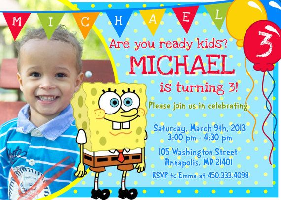 68 best Spongebob Birthday Party Ideas images on Pinterest - invitation card for ist birthday