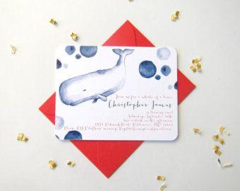 Nautica Baby doccia inviti - Baby doccia inviti - acquerello Baby doccia Baby doccia invito - la balena