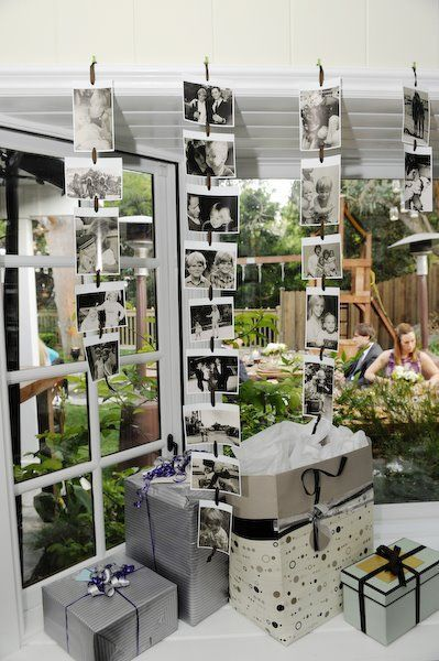 back yard graduation party | photo display for a graduation party - double sided so they can spin a ...