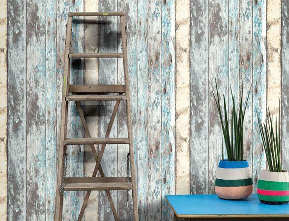 Faux wood panel wallpper from the Exposed collection.  #wallpaper #fauxwood #industriallook