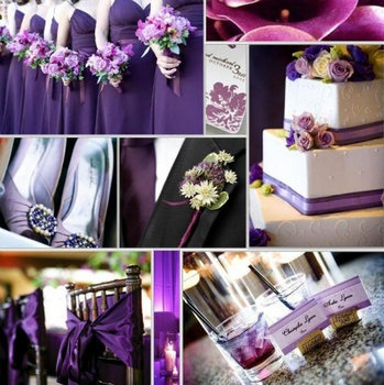 Chairs and seat ties.  Wedding, Purple, Inspiration, Board