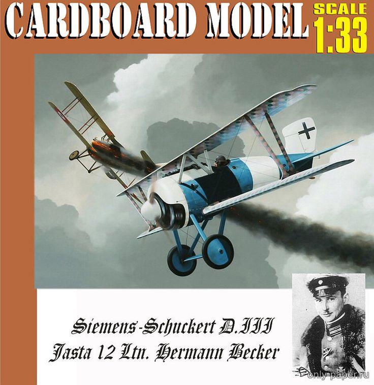 Siemens-Schuckert SSW D.III командира Jasta 12 Ltn. Hermann Becker 1:33 paper model, maybe good for RC 1:16 conversion.