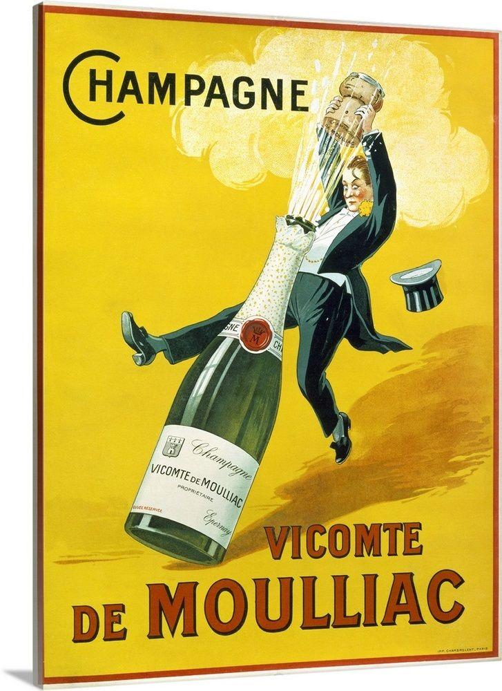 Champagne Vicomte De Moulliac Wine Poster Vintage Champagne Vintage Illustration
