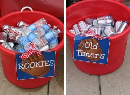 basbeball decorarions - old timers | Baseball party drink pales for rookies and old timers?