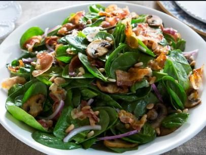 Get Warm Spinach Salad with Pancetta Dressing Recipe from Cooking Channel