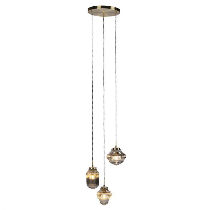 Lampada a sospensione rotonda Art Déco in ottone con vetro