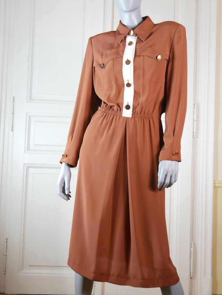 1980s German Vintage Power Dress, Caramel and Cream Colored Knee-Length, Light Brown Dieter Gerhard Designer Dress :Size 12 US, Size 16 UK by YouLookAmazing on Etsy